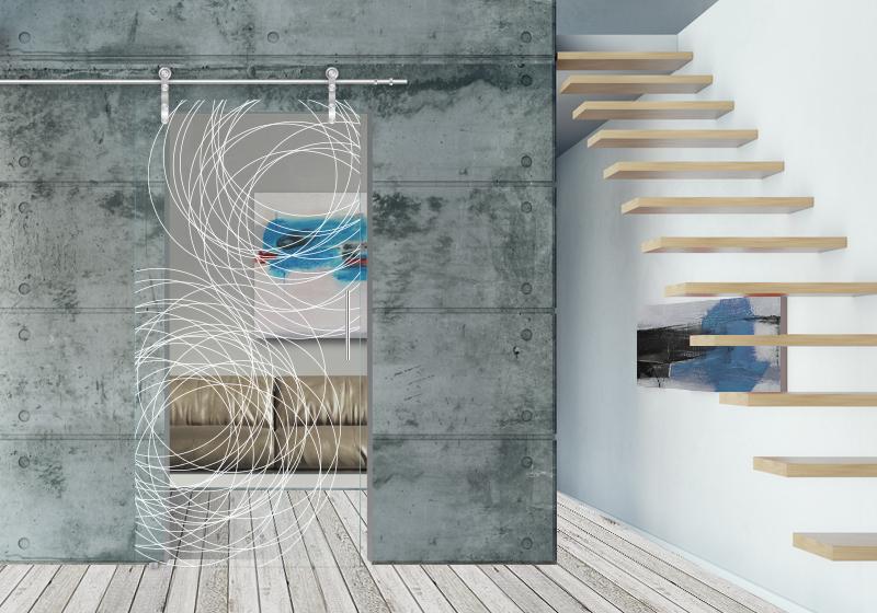 FLY - Decorazione con sabbiatura sulle due superfici del vetro acidato. Sistema scorrevole esterno muro.
